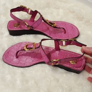 Tory Burch purple leather thong sandals